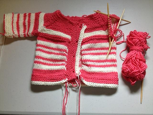 Knitted Baby Sweater WIP - race to the finish